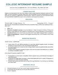 Sample Resumer Sample Resumes For Internships For College Students Custom Sample College Resume