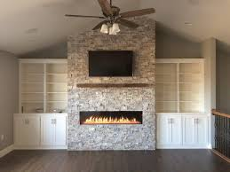 heat glo primo 60 with silver travertine stacked stone
