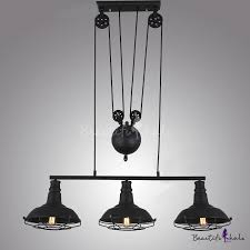matte black three light billiard light with metal shade