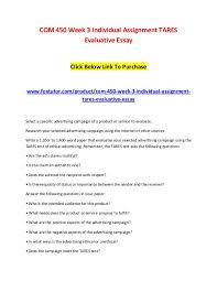 Com 450 Week 3 Individual Assignment Tares Evaluative Essay