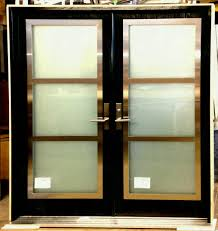 double entry door with stainless steel frame on top of glass inserts from thermoluxe collection modern
