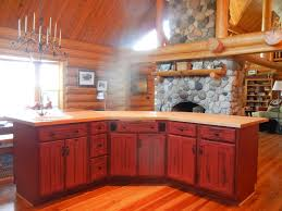Red Cabinets In Kitchen Rustic Red Kitchen Cabinets Barebones Ely