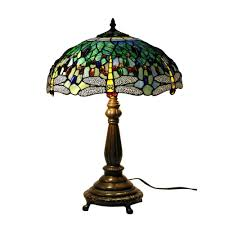 antique bronze dragonfly stained glass table lamp with pull chain