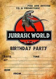 Jurassic Park Invitations Birthday Party Invitations Jurassic World Dinosaurs T Rex X 8 Thick Cards Ebay