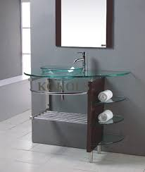 modern bathroom vanities with vessel sinks. modern bathroom glass bowl clear vessel sink \u0026 wood vanity w shelfs/ faucet 25 in vanities with sinks