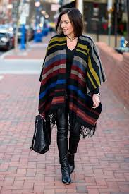 leather pants striped poncho 13