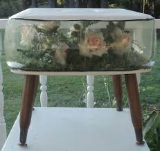 terrarium furniture. Mid-century TERRARIUM FOOTSTOOL Flowers Inside BLOW-UP Wood Legs SOFT TOP Clear Terrarium Furniture