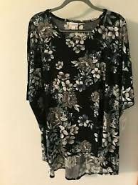 Xl Irma Size Chart Details About Xl Lularoe Irma Beautiful Blue Gray Floral Print On Black Bg Nwt