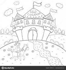 Boek Ridder Op Paard En Magische Kasteel Ontwerp Kleurplaten Voor