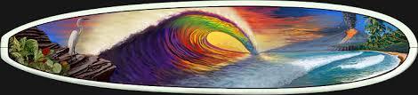 surfboard wall art rainbow tube by kem mcnair  on hand painted surfboard wall art with surfboard wall art rainbow tube hand painted surfboard