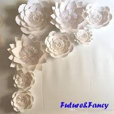 White Paper Flower Backdrop Pure White Giant Paper Flowers For Wedding Backdrops Decorations
