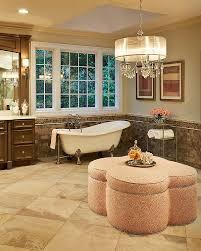 chandelier bathroom lighting. Bathroom Sconces Complement The Oversized Crystal And Shade Chandelier [Design: Driggs Designs] Lighting S
