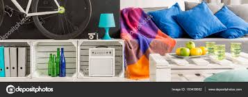 modern diy accessories in living room stock photo