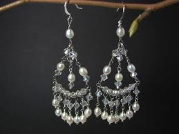 chandelier wedding earrings crystal natural pearl chandelier bridal earring marlena
