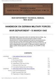Hyperwar Handbook On German Military Forces Nonstop