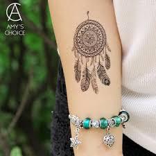 Swmrudy Vodotěsné Dočasné Tattoo Nálepka Krajka Mandala Dreamcatcher Sen Catcher Tetování Převod Vody Falešné Tetování Flash Tetování At Vova