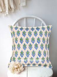 white flower bud india hand block print pillow sham 16x16 inch