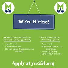 City Of Mobile Offering Youth Summer Jobs