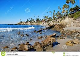 Rock Pile Beach Below Heisler Park Laguna Beach California Stock