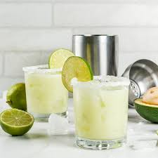 alcoholic l recipes and ideas avocado and lime margarita with salt on a white