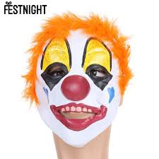 Mask Decorating Supplies FESTNIGHT Adult Latex Clown Mask with Short Hair Party Decoration 49