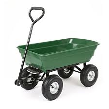 green 4 wheel tipping garden cart 75l load capacity here to enlarge