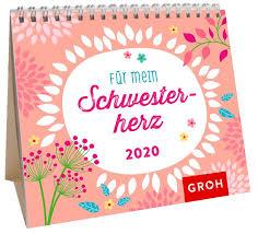Mini Monatskalender 2020 Für Die Beste Schwester Der Welt Groh