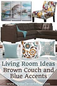 brown sectional sofa plus blue living