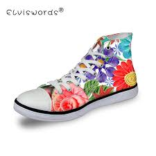 Floral Design Shoes For Ladies Us 27 99 30 Off Elviswords Women High Top Canvas Shoes Classic Female Flower Pattern Vulcanized Sneakers Ladies Casual Student Flat Woman Girls In