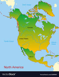 continent of america map. Contemporary Continent Map Of North America Continent Vector Image Inside Continent Of America H