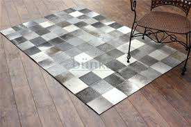 details about bunkar 100 leather checkerboard pattern handmade cowhide rug style gray boxes