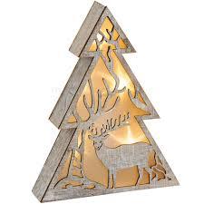 Leuchtender Baum Holz Weihnachtsdeko Mit Hirsch Led Beleuchtung 1 Stk 21x5 Cm Matches21