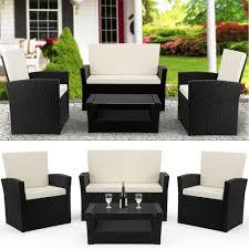 Deuba Poly Rattan Lounge Set 41 Schwarz 2 Sessel Real