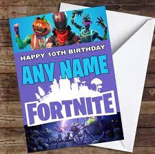 printable children s birthday cards game fortnite personalised childrens birthday card