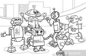 Sticker Robots Groep Cartoon Kleurplaat Pixers We Leven Om Te