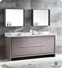 fresca allier 72 gray oak modern double sink bathroom vanity w mirror