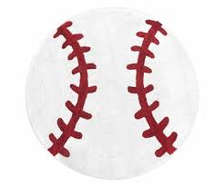 red and white round accent floor rug or bath mat for baseball patch sports collection by
