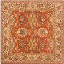 heritage rust beige 6 ft x 6 ft square area rug