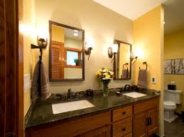 two toned bathroom with black granite