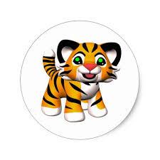 Shop Cartoon <b>Tiger</b> Cub Classic <b>Round</b> Sticker created by ...