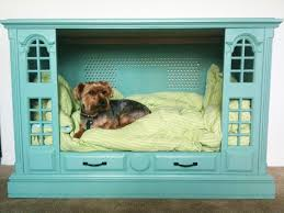 re purposed tv cabinet dog bed