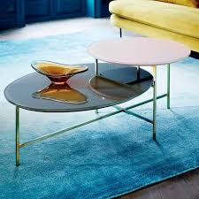 glass geo stepped coffee table