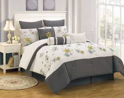 mesmerizing full size ivory and gray bedding sets with white bedside table and lamp