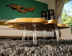 Floating Coffee Table Giant Mesquite Floating Coffee Table W Lucite Legs Grains