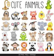 zoo animal clipart cute. Modren Zoo Animals Baby Digital Clipart  Safari Clip Art Zoo  For Personal And Commercial Use Instant Download Intended Animal Cute