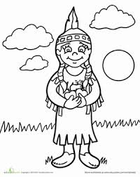 Thanksgiving Preschool People Holidays Worksheets Color The Native