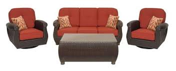 seating breckenridge 4 piece patio furniture set two swivel rockers sofa and coffee table brick red 1 large v=
