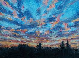 palette knife demonstration on painting a sunset impasto technique with oil