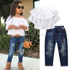 New Jeans Design For Girl 2019 2019 New Design Destroyed Denim Jeans White Suspender Tops T Shirt Set Girls Fashion Outfits Children Boutique Clothes Set From Pyramidshop19798