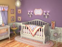 Purple Baby Girl Themed Nursery Ideas Wall Hanging Lamp And Stickers  Chandelier Wooden Floor Carpet Colorful